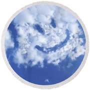 Happy Face Sky Round Beach Towel