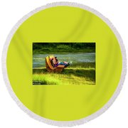 Young Family Enjoying The Swiss Country Side Round Beach Towel