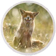 Happy Fox Is Happy Round Beach Towel