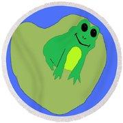 Happy Frog Round Beach Towel