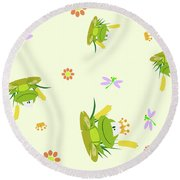 Happy Frogs Round Beach Towel