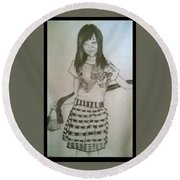 Happy Girl In Naga Outfit  Round Beach Towel