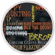 Happy Haunting Typography Round Beach Towel