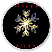 Happy Holiday Snowflakes Round Beach Towel