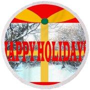Happy Holidays 21 Round Beach Towel