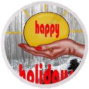 Happy Holidays 26 Round Beach Towel