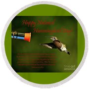 Happy Hummer Day Round Beach Towel