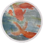 Happy Koi Round Beach Towel
