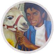 Happy Michael Jackson With His Pet Llama  Round Beach Towel