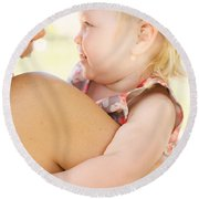 Happy Mother Holding Baby With Look Of Surprise Round Beach Towel
