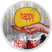 Happy New Year 22 Round Beach Towel