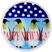 Happy New Year 5 Round Beach Towel
