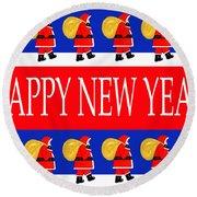 Happy New Year 7 Round Beach Towel