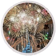 Happy New Year From Walt Disney World Round Beach Towel
