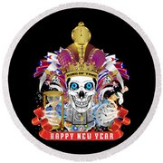 Happy New Year King Of Time Round Beach Towel