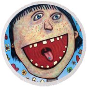 Happy Pill Round Beach Towel by James W Johnson