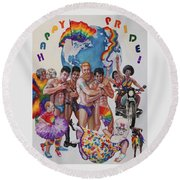 Happy Pride Round Beach Towel