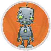 Happy Robot Round Beach Towel by John Schwegel