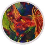 Happy Rooster Family Round Beach Towel