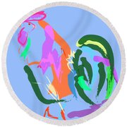 Happy Rooster Round Beach Towel
