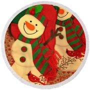 Happy Snowmen Round Beach Towel