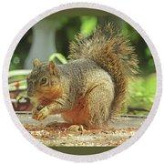 Happy Squirrel Round Beach Towel