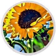 Happy Sunflower Round Beach Towel