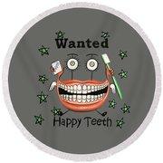 Happy Teeth T-shirt Round Beach Towel