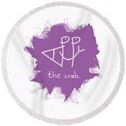 Happy The Crab - Purple Round Beach Towel