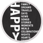 Happy Things Round Beach Towel