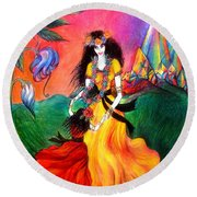 Happy To Dance. Ameynra And Mother-queen Round Beach Towel