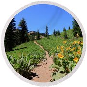 Happy Trails Round Beach Towel