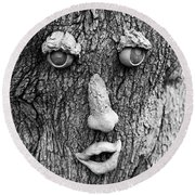 Happy Tree In Black And White Round Beach Towel