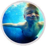 Happy Under Water Pool Boy Square Round Beach Towel