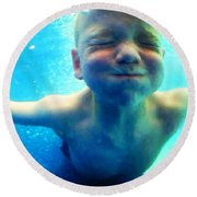 Happy Under Water Pool Boy Vertical Round Beach Towel