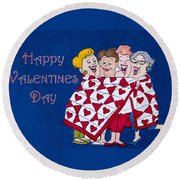 Happy Valentine Day Round Beach Towel