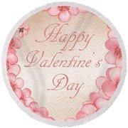 Happy Valentine Pink Heart Round Beach Towel