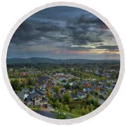 Happy Valley Residential Neighborhood During Sunset Round Beach Towel
