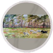 Happy Wanderers Round Beach Towel