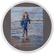Happy With Sea And Sand Round Beach Towel