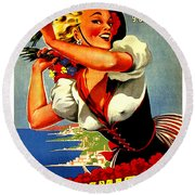Happy Woman With Flowers, Festival In Ventimiglia, Italy Round Beach Towel