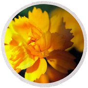 Happy Yellow Flower Round Beach Towel