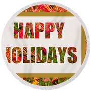 Happy Holidays Card Round Beach Towel