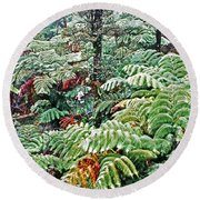 Hapu'u Fern Rainforest Round Beach Towel