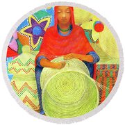 Harar Lady 2 Round Beach Towel