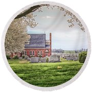 Harbaugh Church In The Spring Round Beach Towel