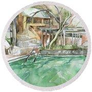 Harbin Hotsprings Pool Round Beach Towel