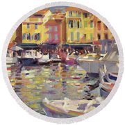 Harbor At Cassis Round Beach Towel