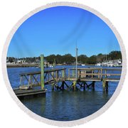 Harbor At Mcclellanville, Sc Round Beach Towel