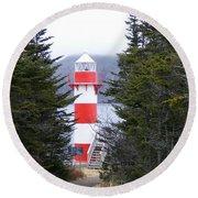 Harbor Breton Lighthouse Round Beach Towel
